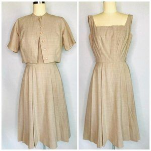 Vintage 50s 2 pc Dress Bolero Set Size M pleated